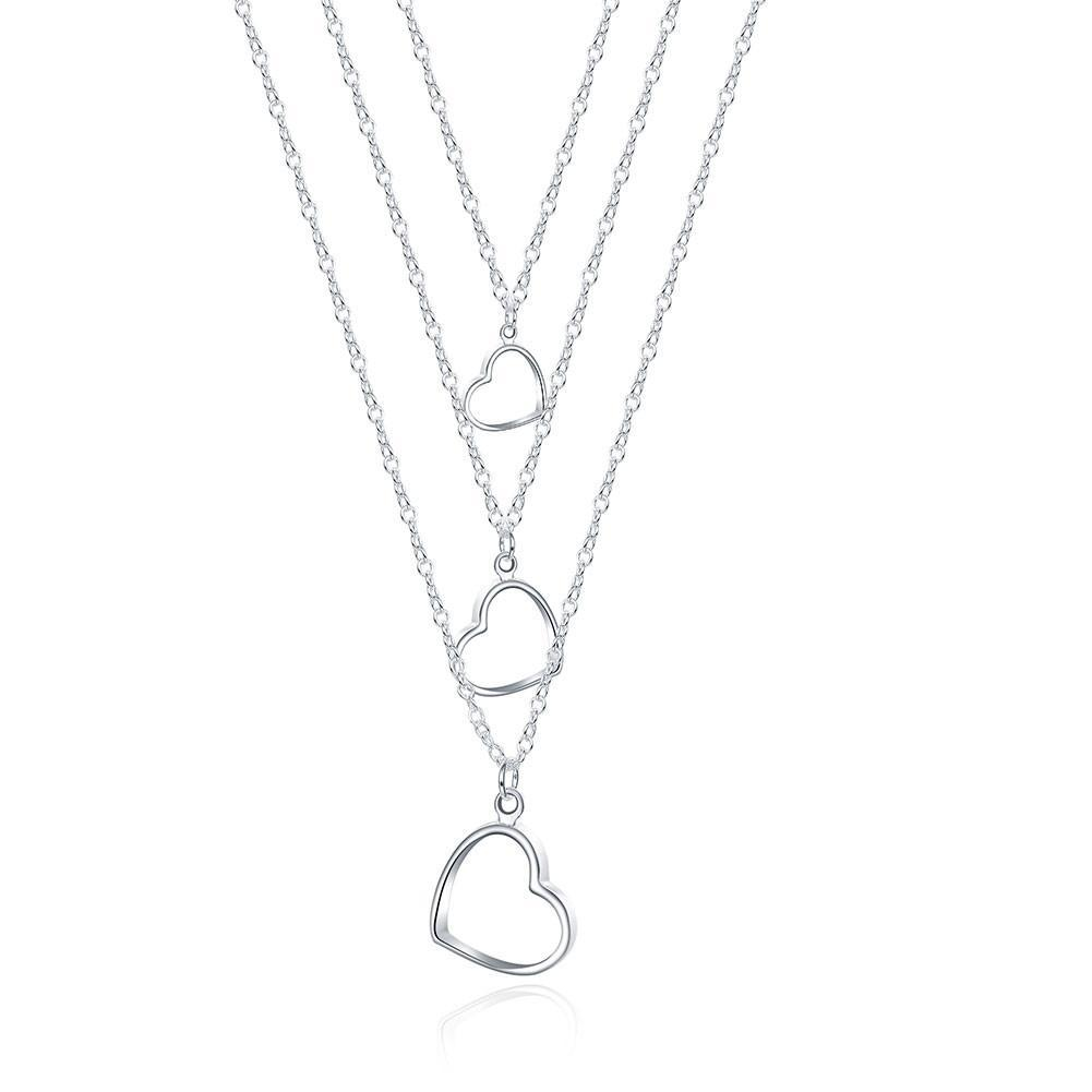 Bevellier Necklaces Triple Heart Drop Necklace in 18K White Gold Plated