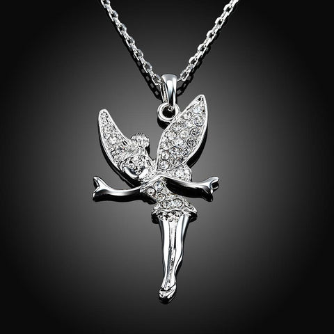 Bevellier Necklaces White Gold Plated Flying Fairy Necklace