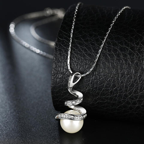 Bevellier Necklaces White Gold Plated Spiral Pearl Design Necklace