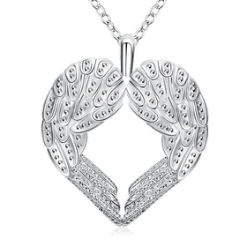 Bevellier Necklaces Wings of an Angel Necklace in 18K White Gold Plated