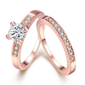 Bevellier Rings 18K Rose Gold / 5 Swarovski Crystal 2 Piece Band and Ring Set in 18K Gold Plated