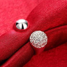 Bevellier Rings Pave in Swarovski Crystals Adjustable Ring in White Gold