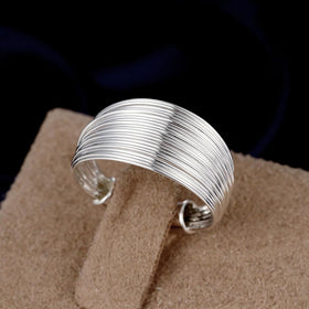 Bevellier Rings Stacked Layers Ring in White Gold Plated Adjustable