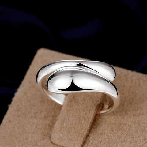 Bevellier Rings Teardrop Ring Adjustable in White Gold Plated