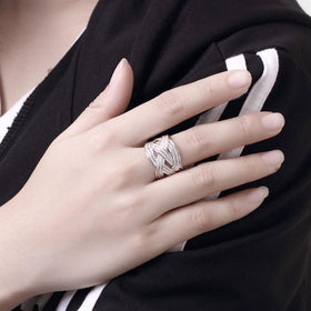 Bevellier Rings Weved Ring Adjustable in White Gold Plated