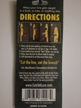 CatchALure conventional fishing lure retriever device back of retail packaging directions and instructions.