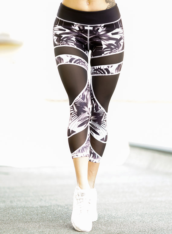 Black Palm Tree Mesh Leggings by Harmony Fit