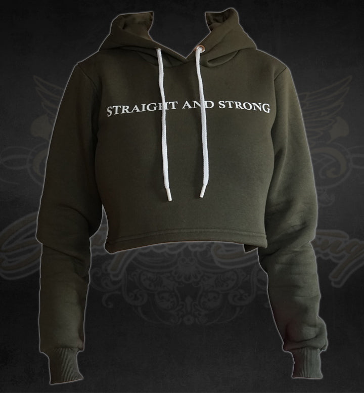 Cropped Hoodie I don´t care olive green