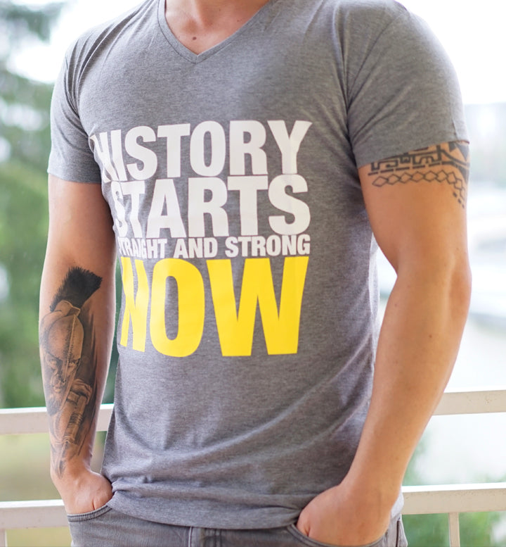 Men T-Shirt History Starts Now hellgrau