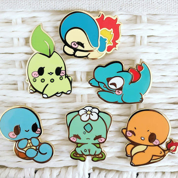 FULL PIN SET: Gen 1 & 2 Starter Pokemon