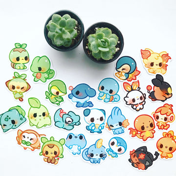 Starter Pokemon Stickers Set