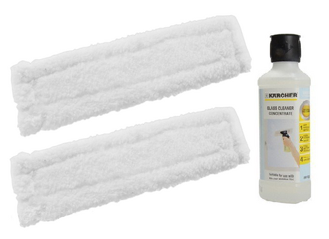 2-x-karcher-wv50-window-vac-vacuum-cloths-covers-glass-pads-cleaning-fluid