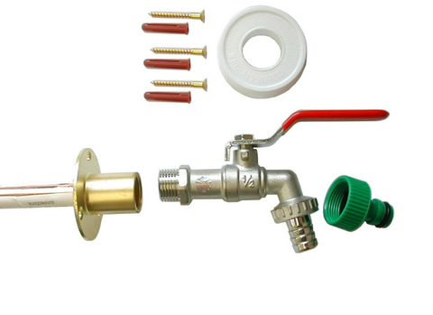 lever-outside-tap-kit-w-throughwall-pipe-flange-garden-hose-fitting