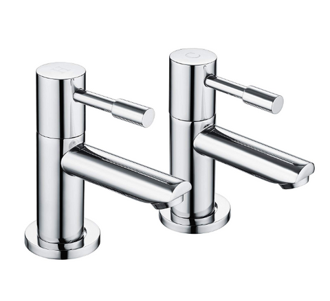 modern-bathroom-basin-taps-hot-cold-pair-twin-chrome-lever-handle-solid-brass