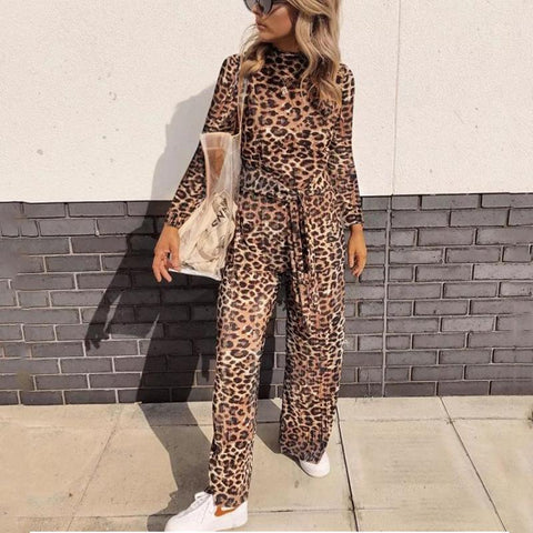 Sexy Leopard Print   Long Sleeve Jumpsuit