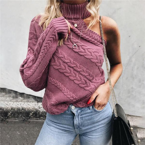 A turtleneck sweater with an off-the-shoulder one-sleeve knit