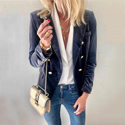 2019 IM Women's Autumn And Winter   Fashion Suede Suit Jacket