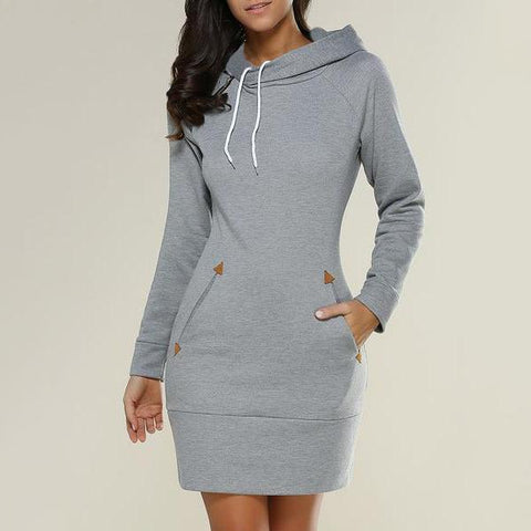 Casual Pure Color Medium Long Zipper Hoodie Casual Dress