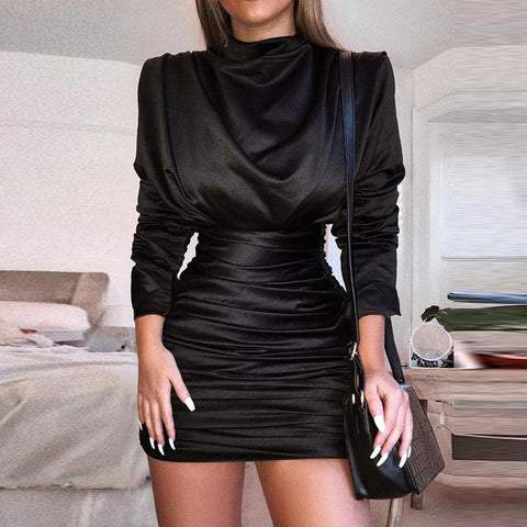 Fashion Long Sleeve High Collar Pure Colour Pleated Bodycon Dress