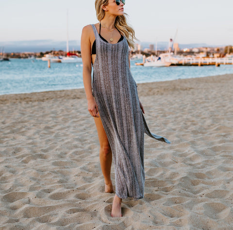 Vacation Sandbeach   Blouse Bikini Sexy Knitted Sweater Maxi Dress