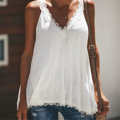 Casual Sexy Lace   Splicing V Neck Pure Color Vest Blouse