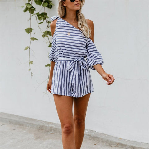 Sexy Off The Shoulder Striped Jumpsuit