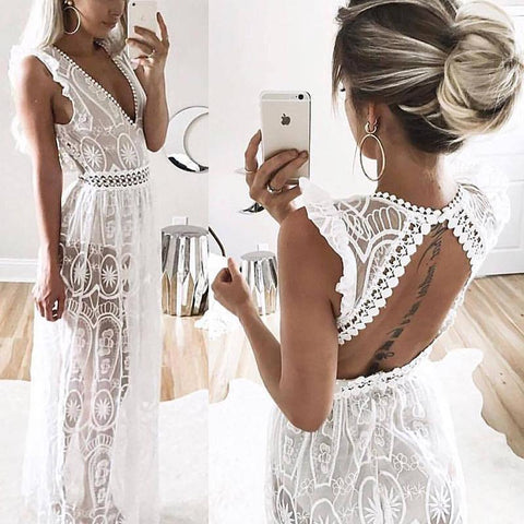Casual Sexy Deep V   Neck Backless Lace Hollow Out Maxi Dresses