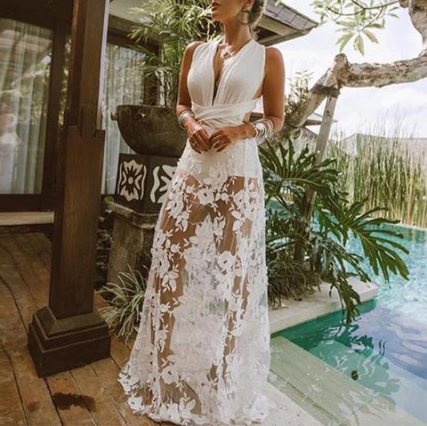 2019 IM Women's Sexy Lace Hollow Out Deep V Sleeveless Maxi Dresses