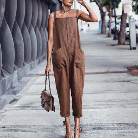Commuting Pure Colour Sleeveless Off-Shoulder Jumpsuits