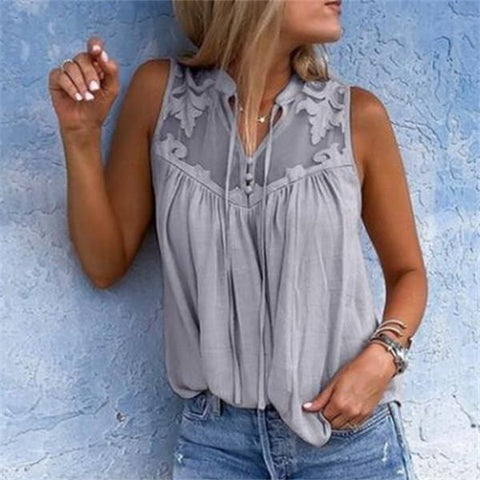 Fashion Stitched Chiffon Vest Shirt