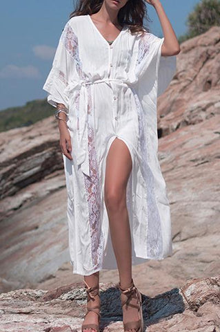 Female European And American Lace Stitching Dress Cardigan Robe