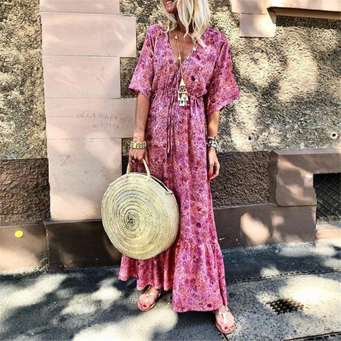 Sexy V Collar Printed Short Sleeves Casual Maxi Dresses