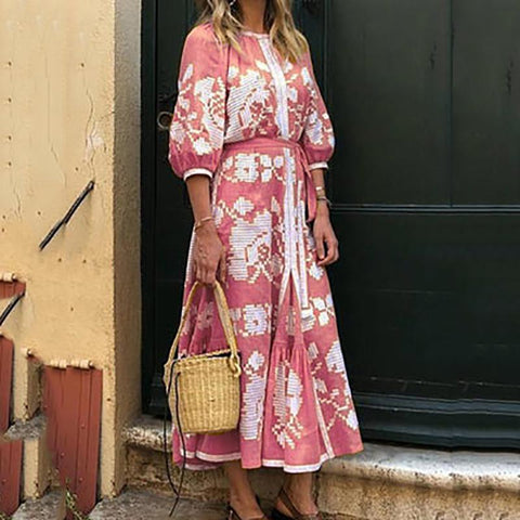 Bohemian Printed Color Middle Sleeve Round Neck Vacation Casual Maxi Dress