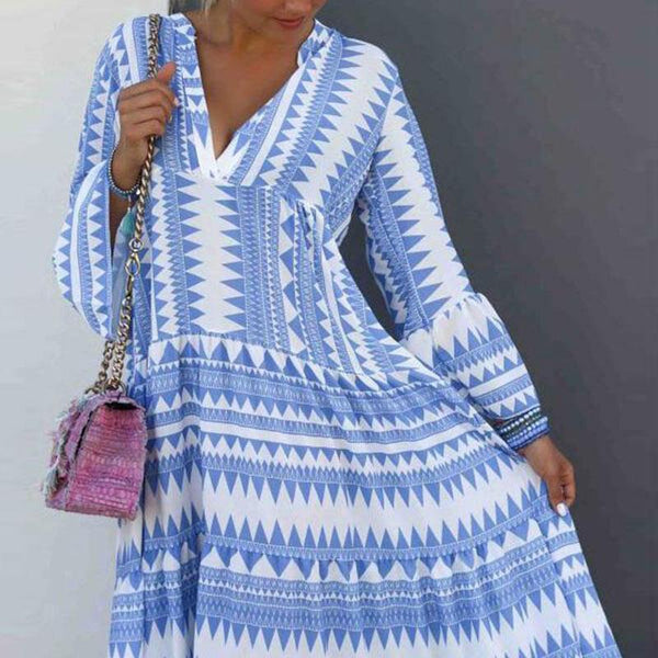 Fashion V-Neck Striped Print Casual Maxi Dress