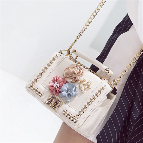 Women's flower chain messenger bag