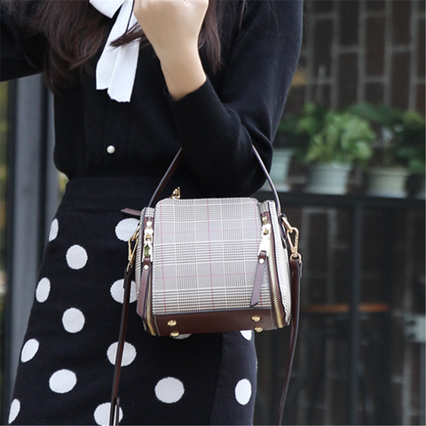 Fashion Plaid Bucket Crossbody Bag
