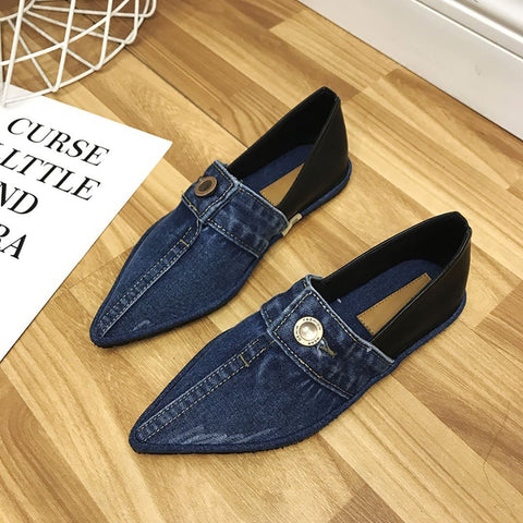 Point-headed denim casual flats