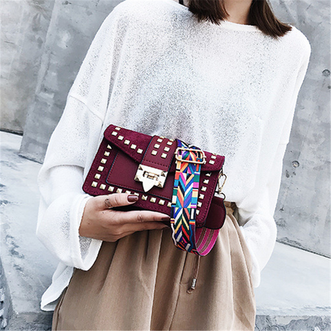 Fashion Broadband Rivet Crossbody Bag