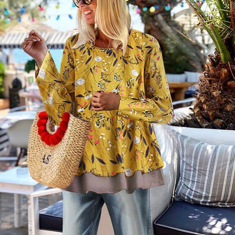 Bohemia Style Floral Printed Loose Blouse