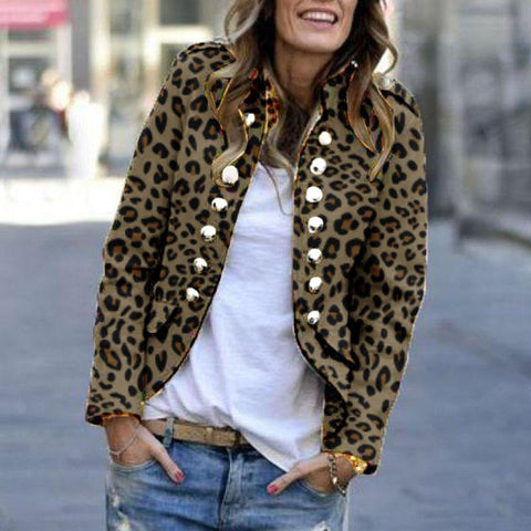 2019 IM Women's Fashion Leopard Print Double-Breasted Coat