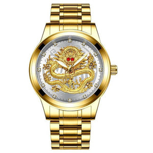 Golden luxury waterproof fashion watch(Buy Now Get Free Golden Dragon Ring)