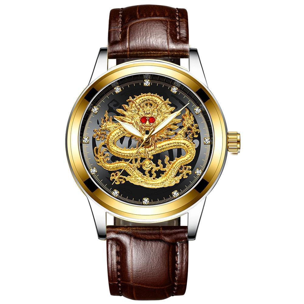 Father's Day gift(sell at a low price)Golden luxury waterproof fashion watch(Buy Now Get Free Golden Dragon Ring)