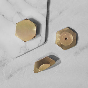 Solid Brass Hexagon Knobs (Set of 4)
