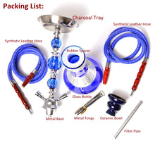 Load image into Gallery viewer, Middle Size Double Hose Glass Hookah Set with Narguile Ceramic Bowl