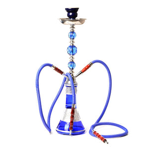 Middle Size Double Hose Glass Hookah Set with Narguile Ceramic Bowl