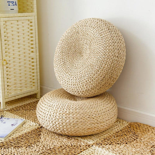 Natural Straw Meditation Cushion Ottoman Cushion