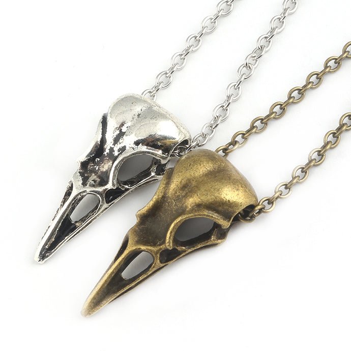 Hand Polished Crow Skull Necklace