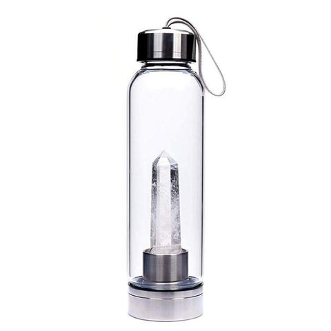 Crystal Infused Water Bottle - 18 oz - Glass and Stainless Steel