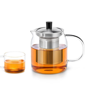 Modern Glass Teapot with 4 Tea Cups and Infuser