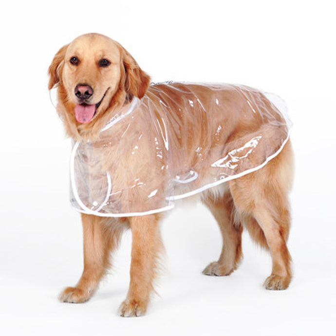 Clear Dog Raincoat for Medium and Large Dogs